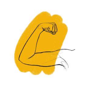 ręka napinająca biceps na żółtym tle