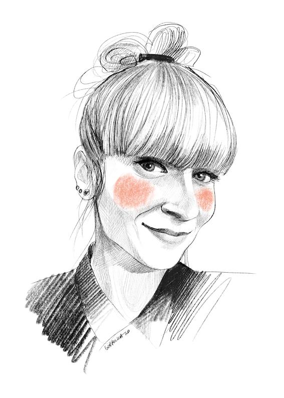 Narysowany czarnobiały portret Katarzyny. Ma związane u góry włosy i grzywkę. W uszach ma dużo małych kolczyków. Na policzkach zarysowane okrągłymi ruchami pomarańczowe rumieńce.