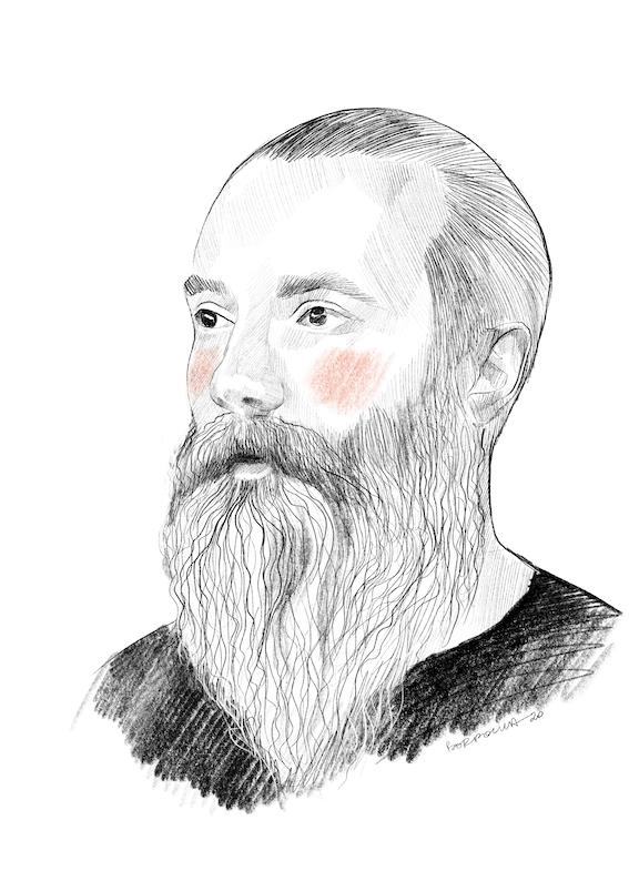Narysowany czarnobiały portret Rafała. Ma krótkie włosy zaczesane do tyłu i długą brodę oraz wąsy. Na policzkach zarysowane okrągłymi ruchami pomarańczowe rumieńce.